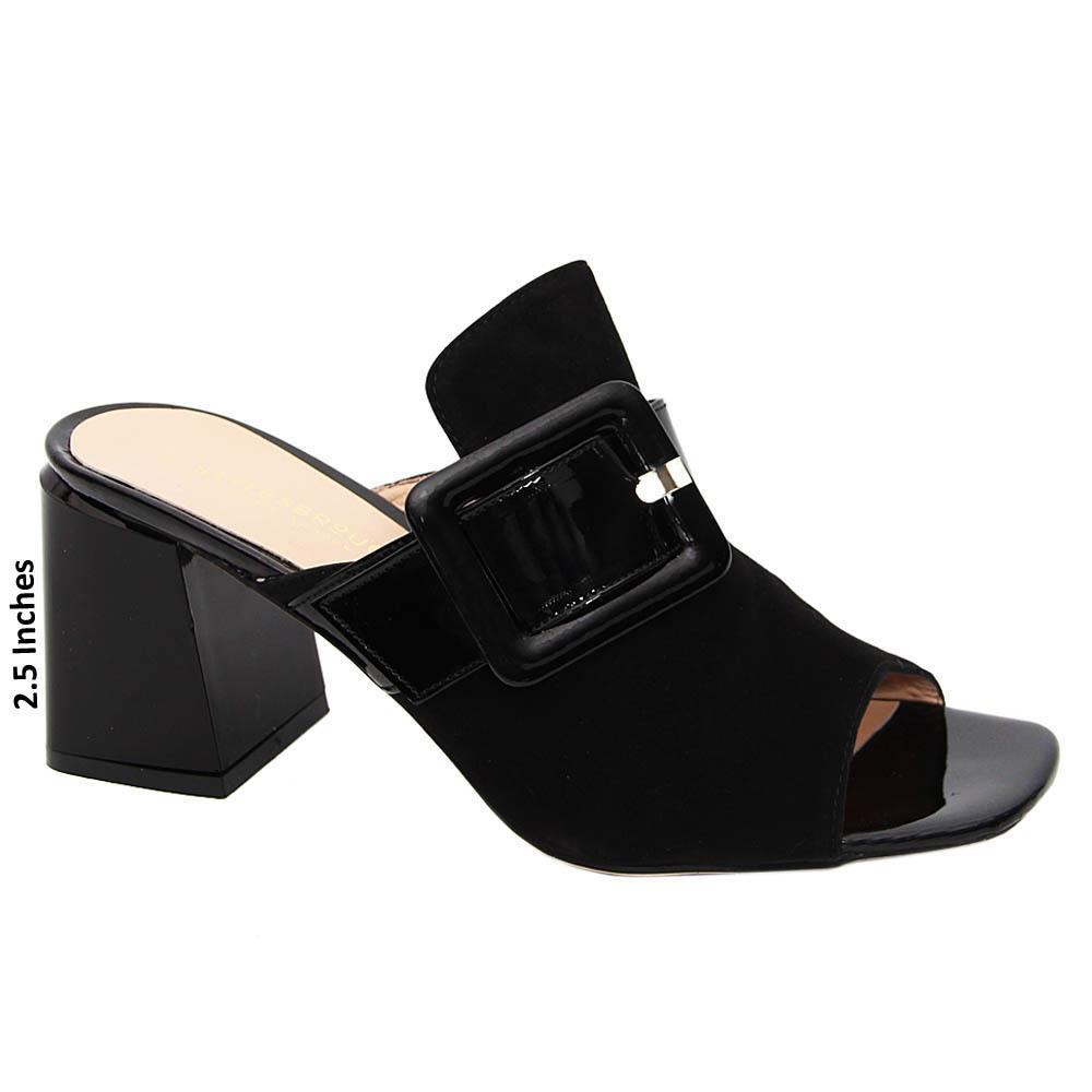 Black Venus Suede Tuscany Leather Mid Heel Mule