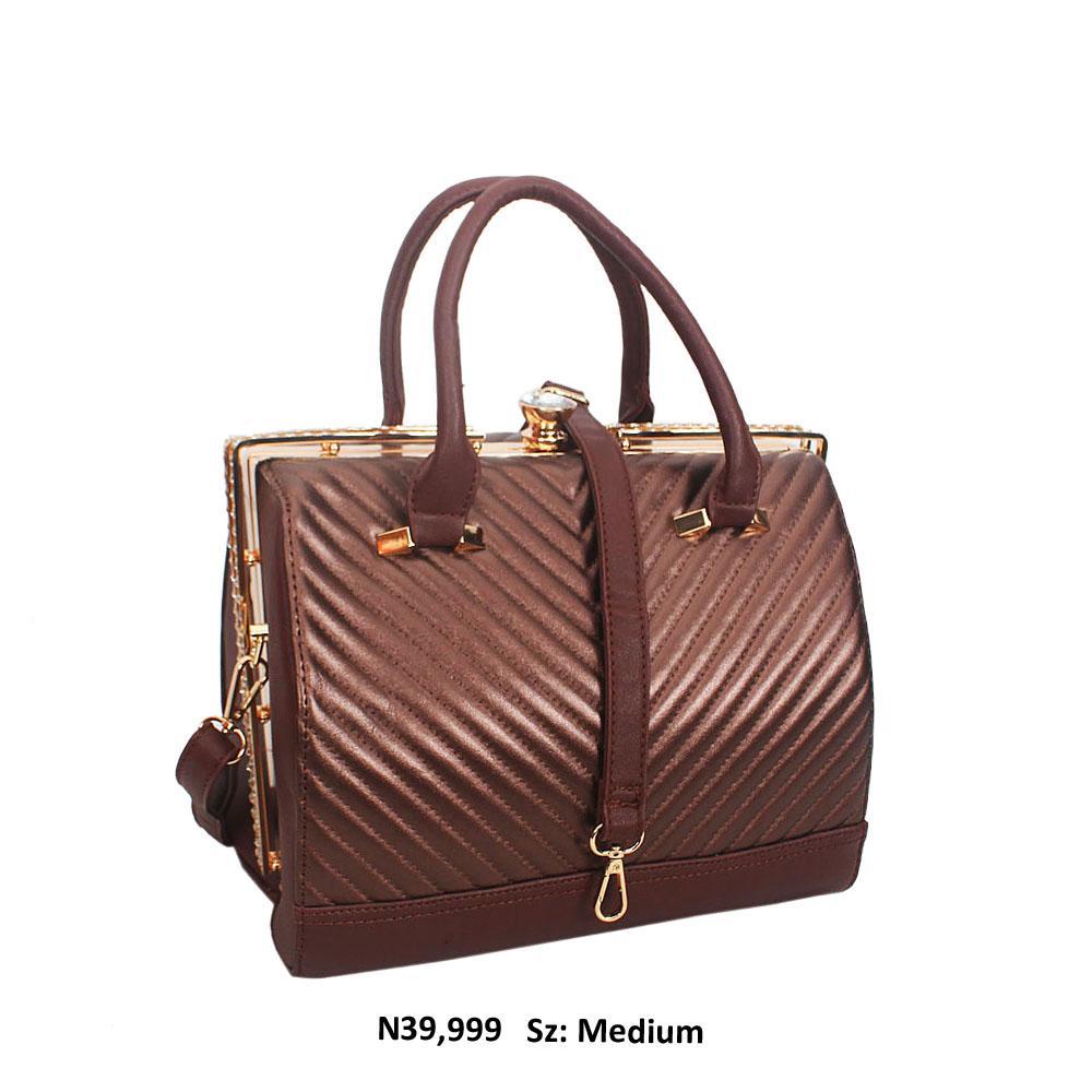 Dark Brown Crystal Studded Leather Tote Handbag