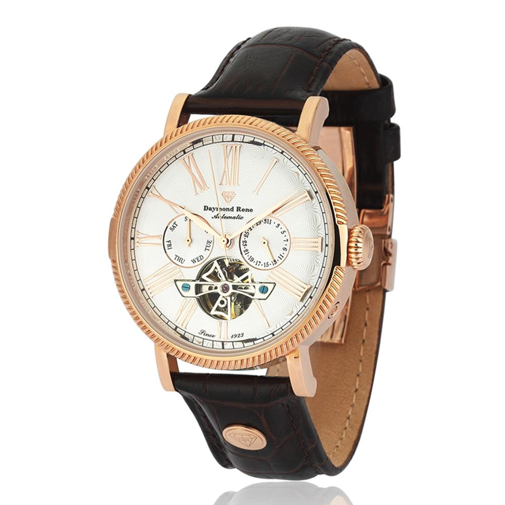 DR 3ATM Coffee Rose Gold Leather Automatic Watch