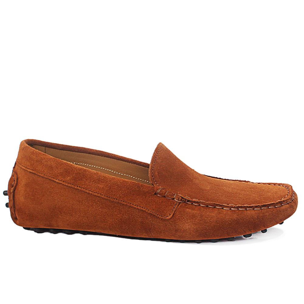 Camel Brown Abacco Suede Leather Ladies Flat Shoe