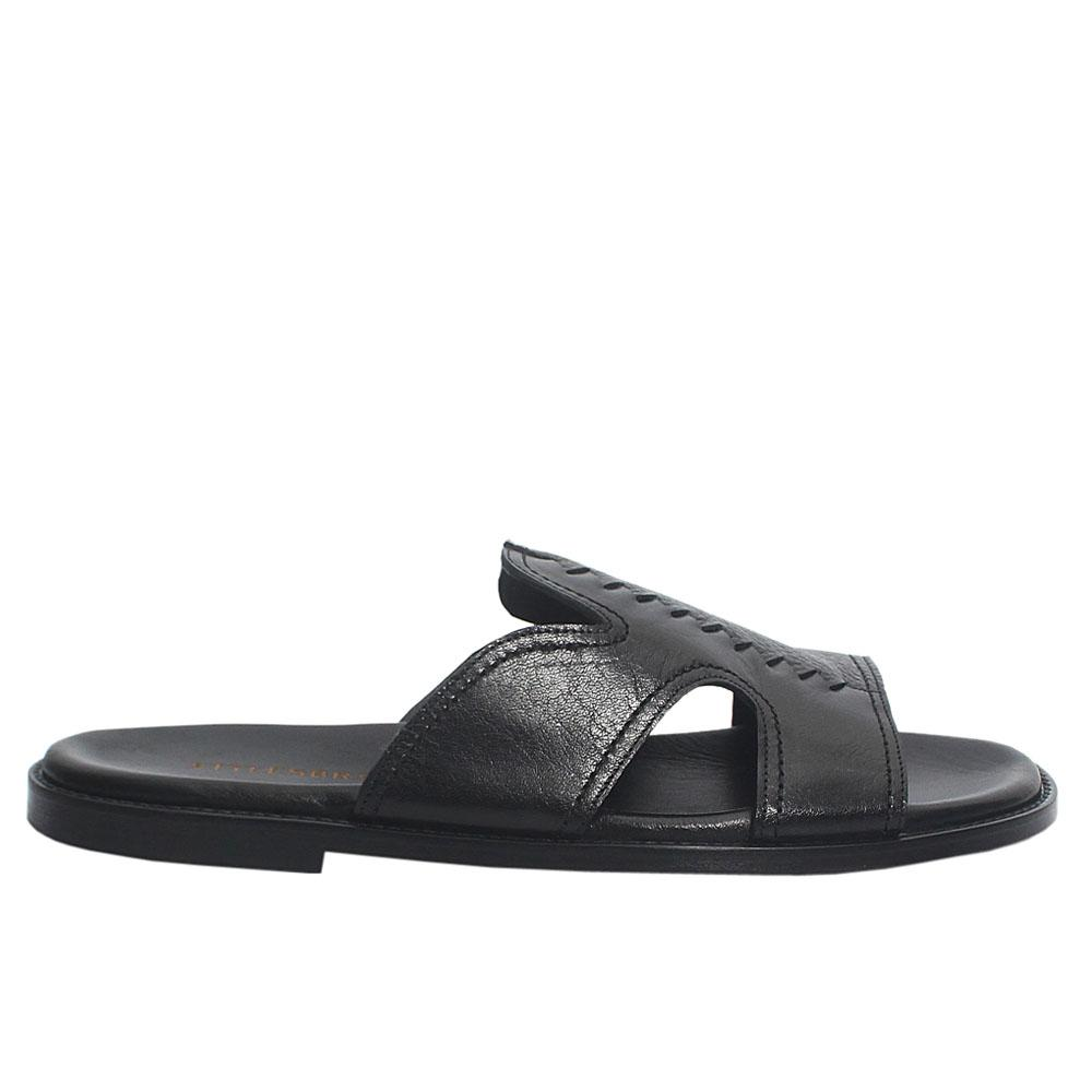 Black Buffalo Italian Leather Men Slippers