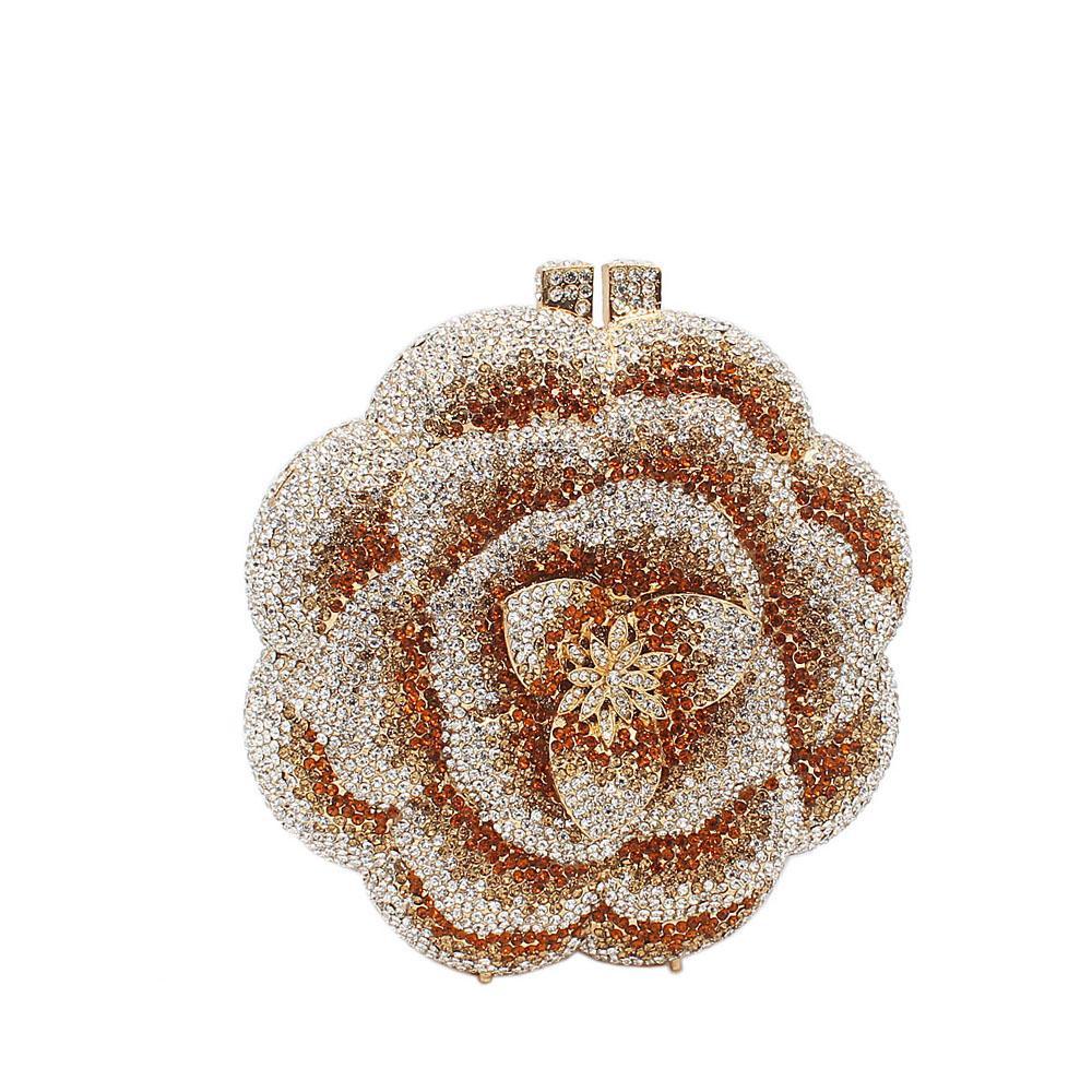 Gold Silver Circular Rose Petals Diamante Crystals Clutch Purse