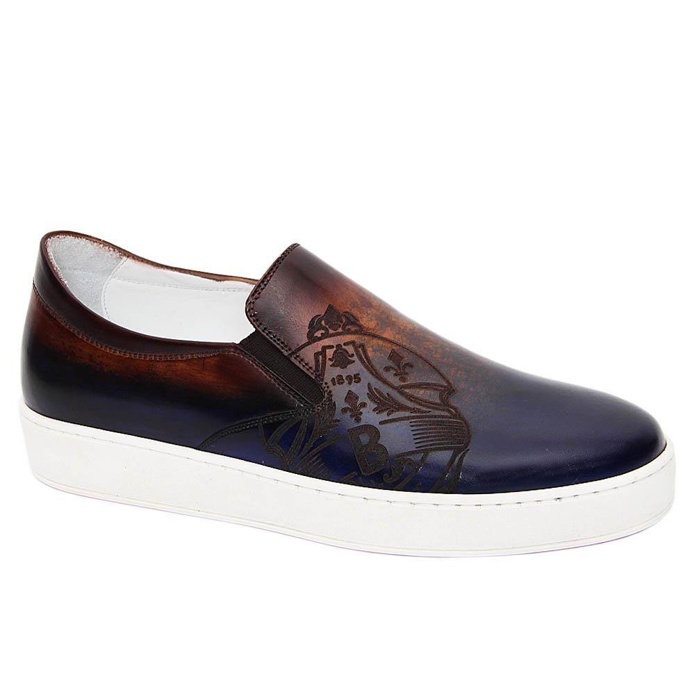 Navy Brown Bernardo Italian Leather Slip-On Sneakers