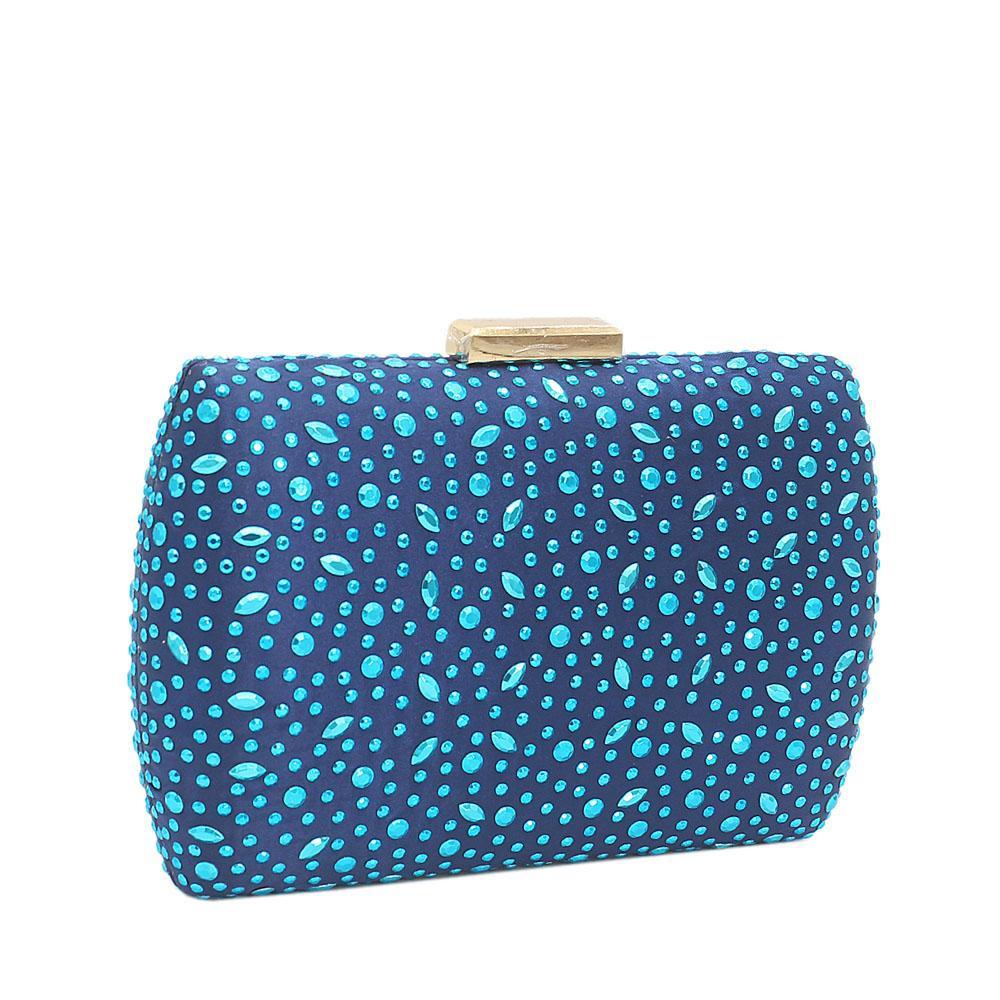 Blue Olivia Studded Fabric Clutch Purse