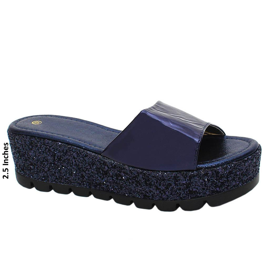 Navy Geneve Sequins Patent Leather Wedge Heels