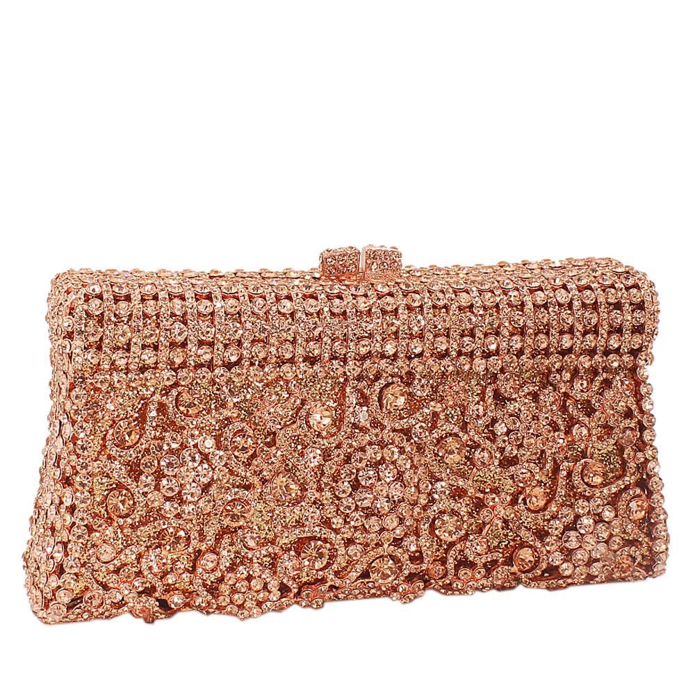 Rose Gold Diamante Crystals Clutch Purse
