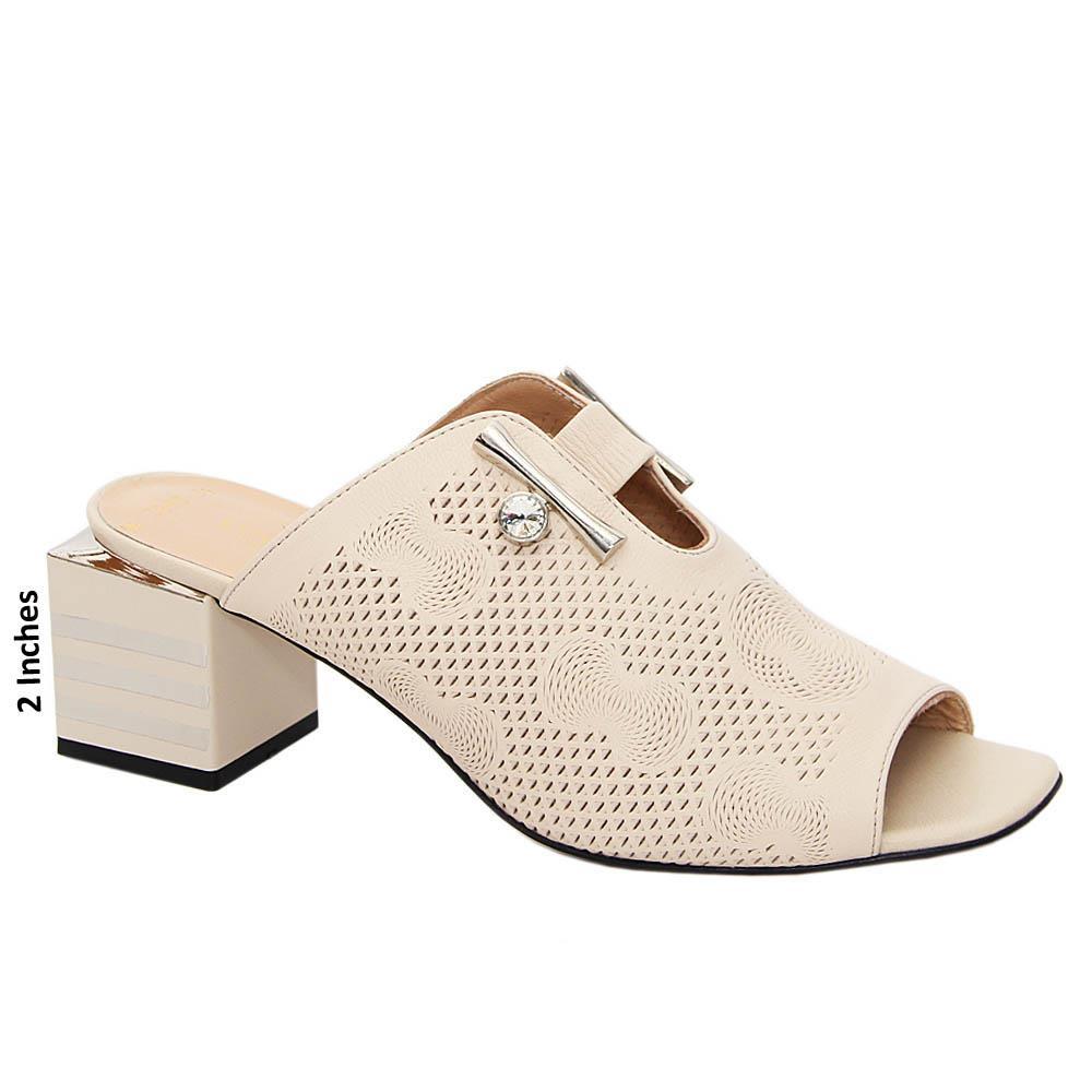 Cream Kamilah Tuscany Leather Mid Heel Mule