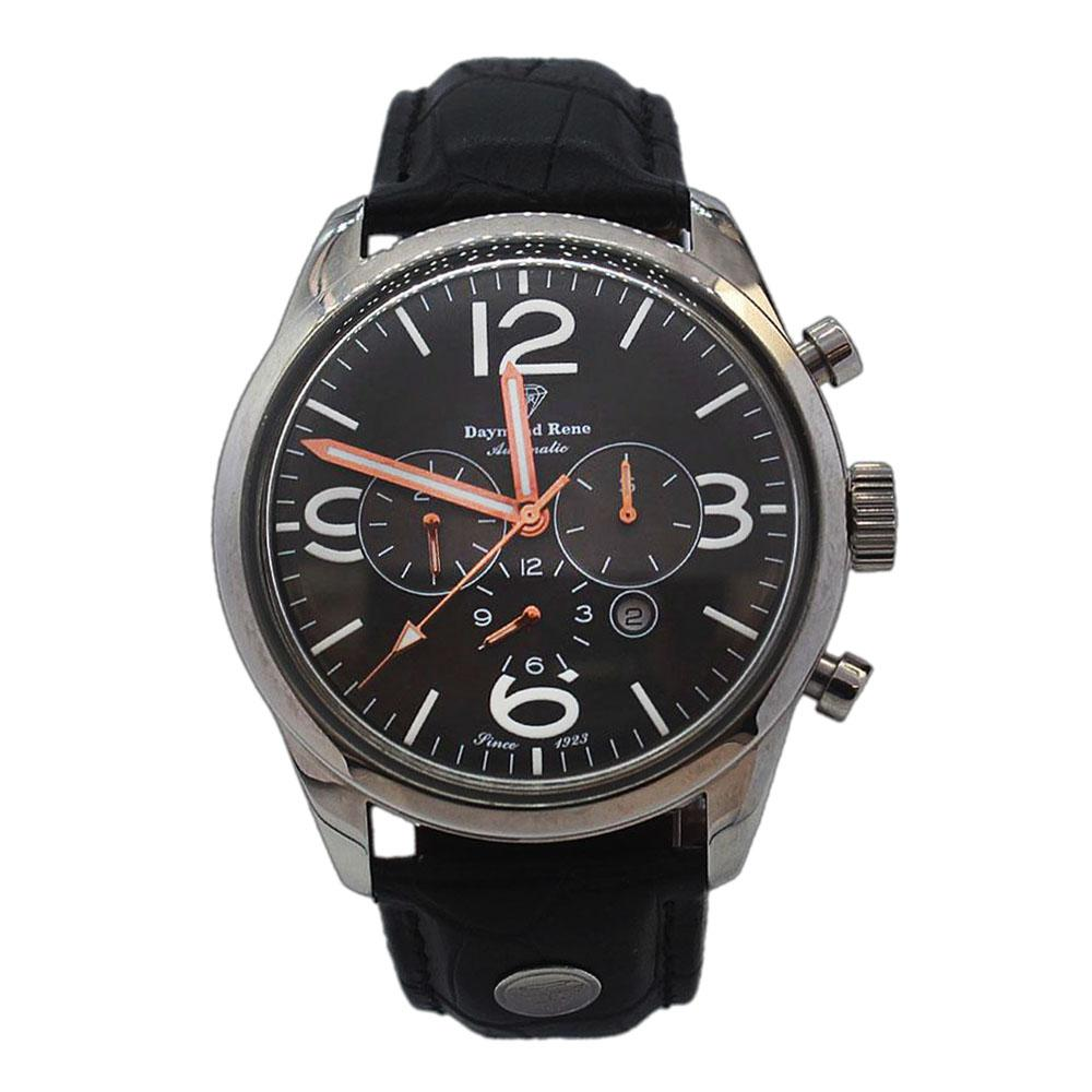 Silver Black Leather Automatic Watch