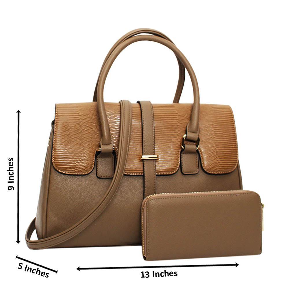 Khaki Quinn Mix Leather Medium Tote Handbag