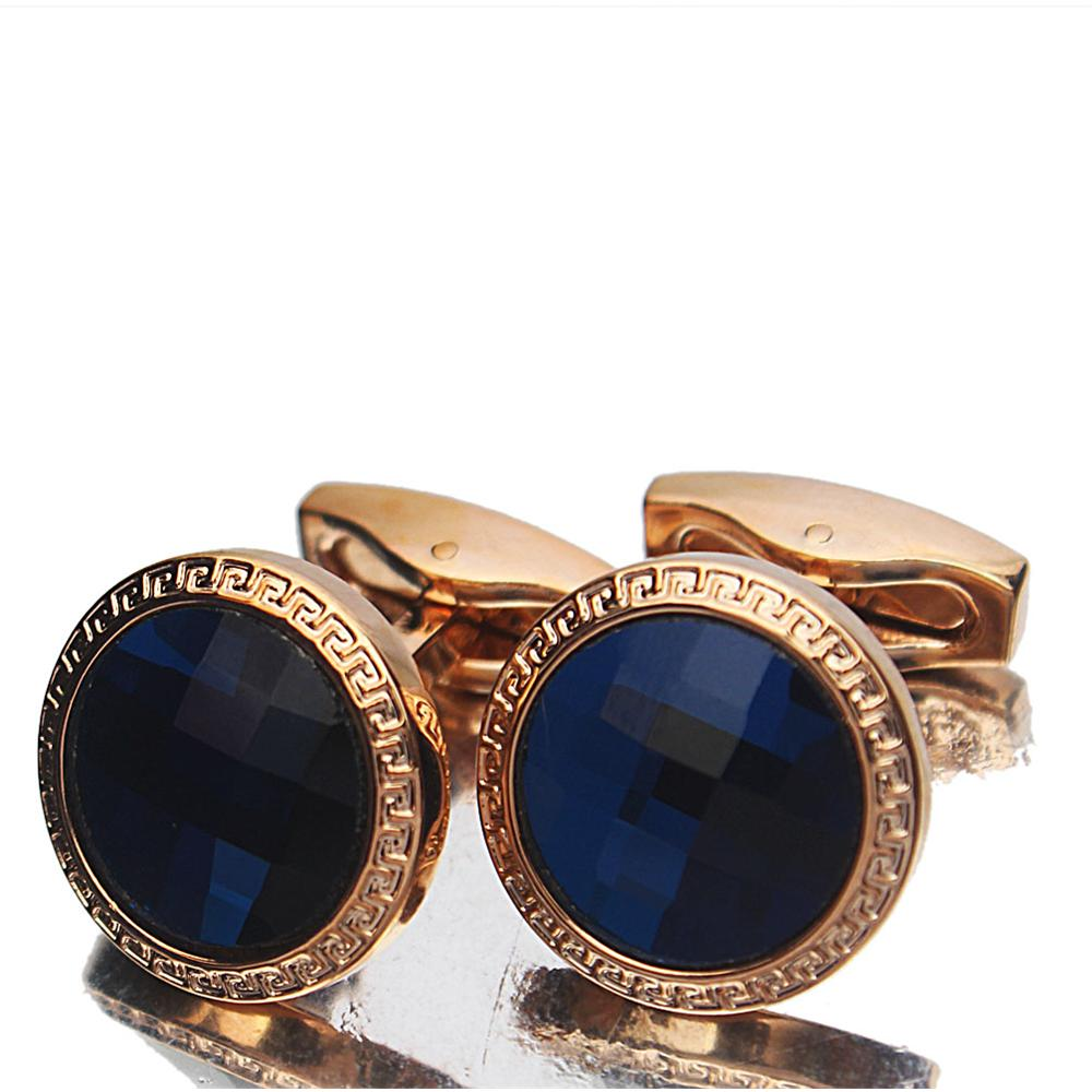 Classic Gold Blue Pearl Stainless Steel Cufflinks