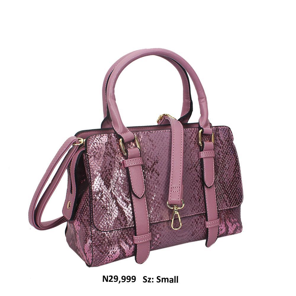 Lilac Nadia Snakeskin Style Leather Tote Handbag
