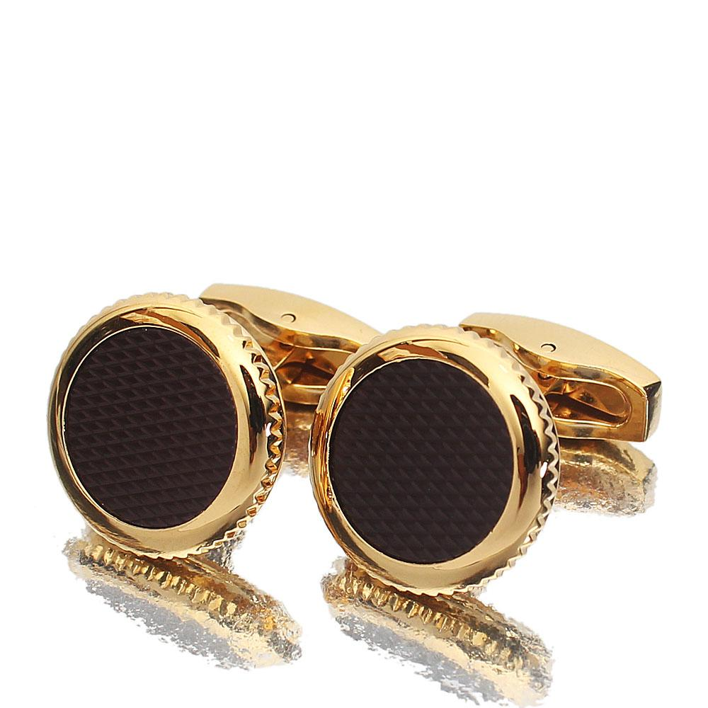 Gold Black Round Stainless Steel Cufflinks
