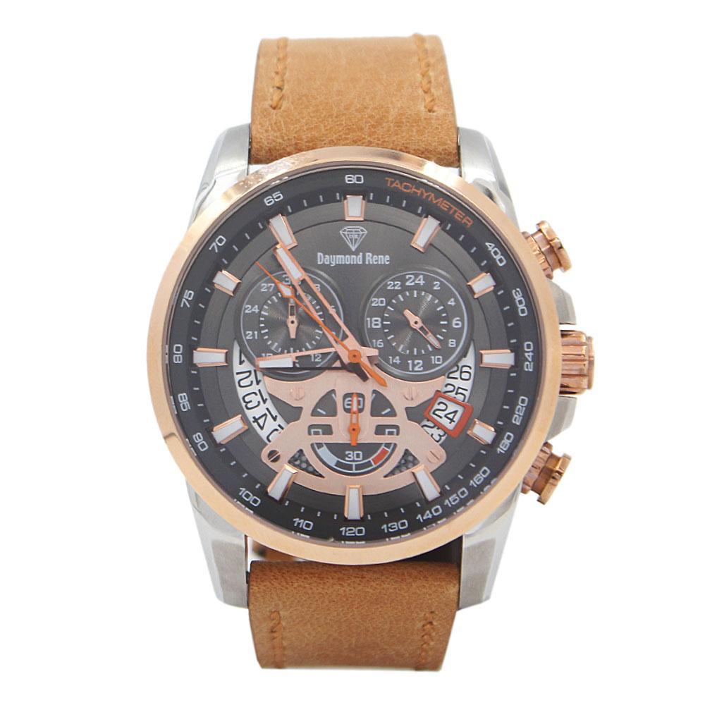 2-Tone Khaki Leather Chronograph Watch
