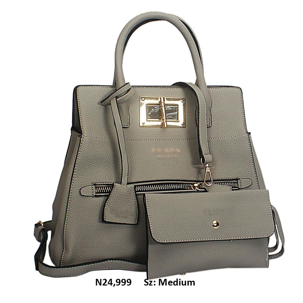Gray Leather Tote Handbag