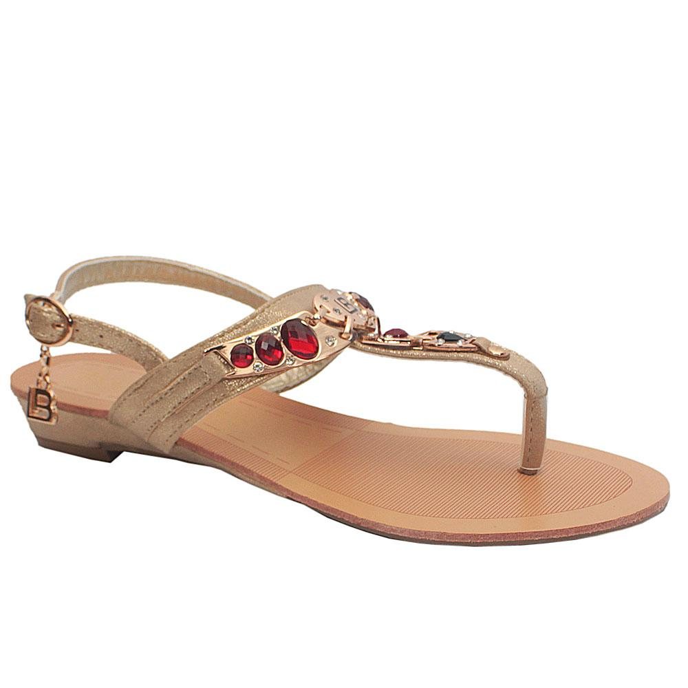 Biagiotti Gold Red Crystals Leather Sandals