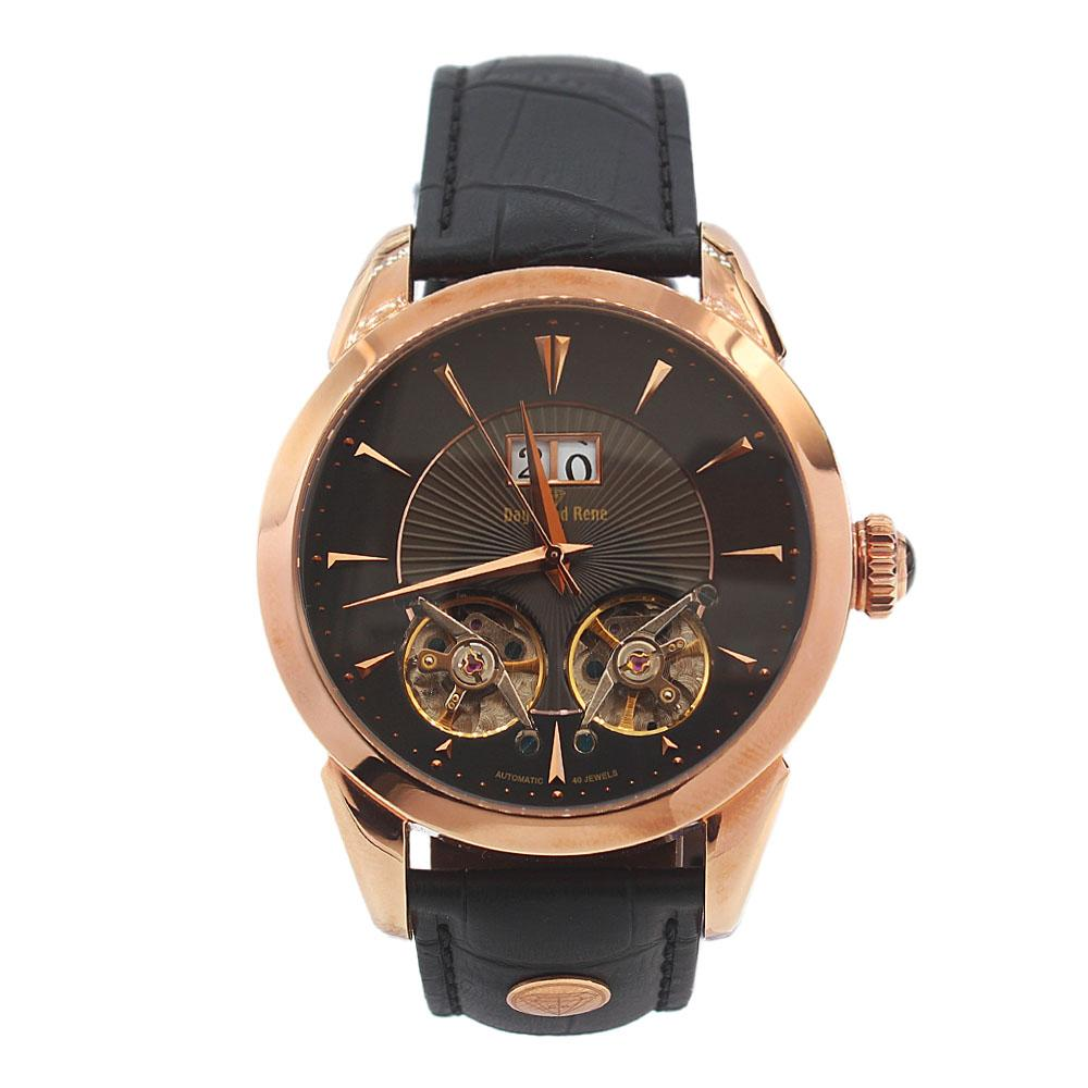 Gold Black Leather Double Tourbillion Watch