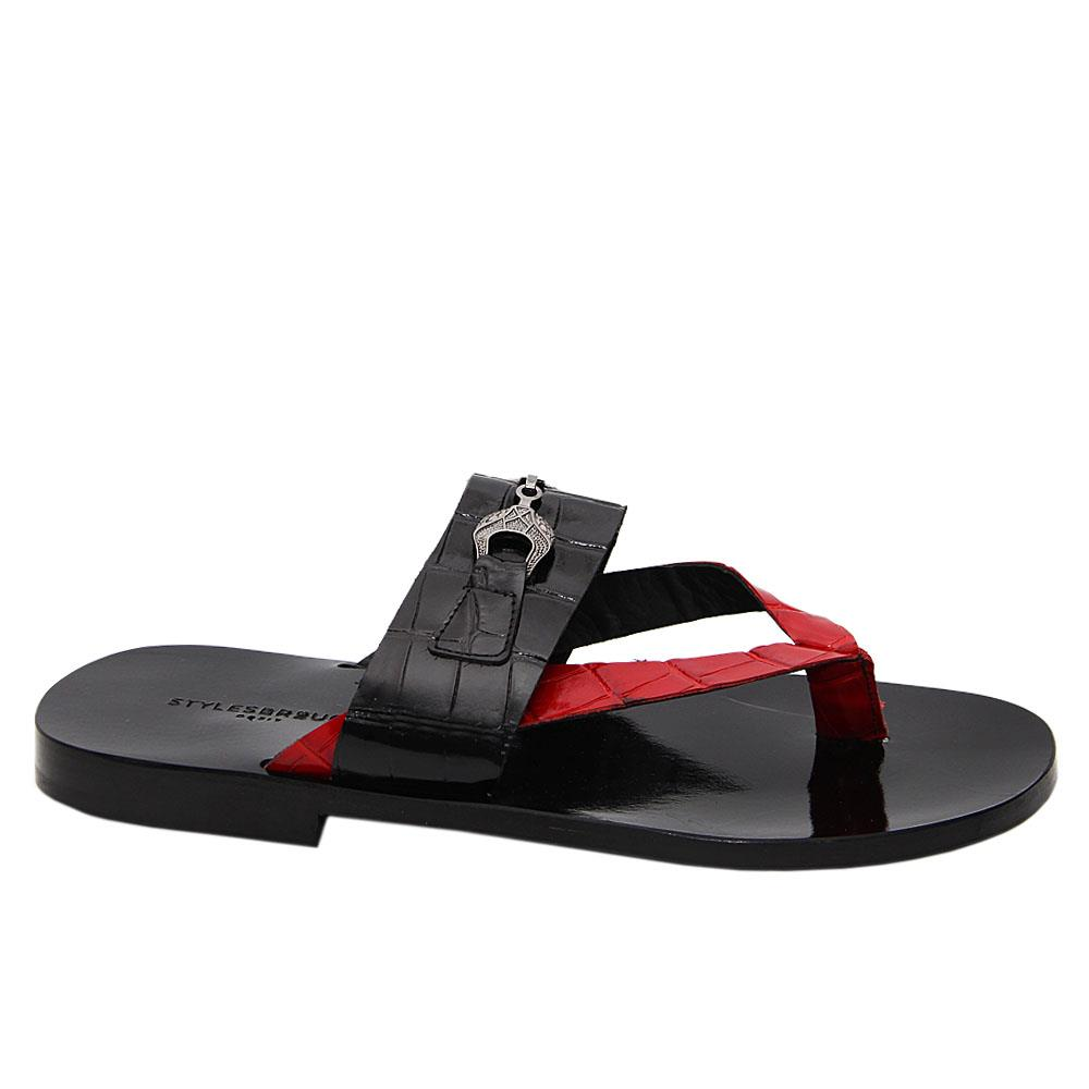 Black-Red-Jean-Italian-Leather-Slippers