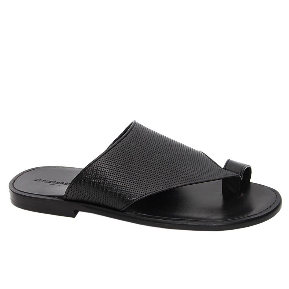 Black Santorini Italian Leather Slippers
