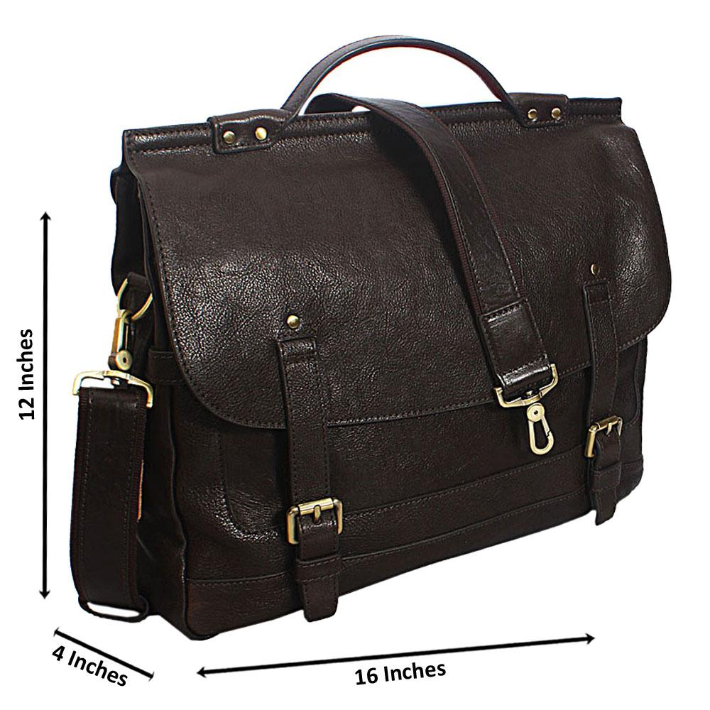 Dark Brown Italian Leather Briefcase
