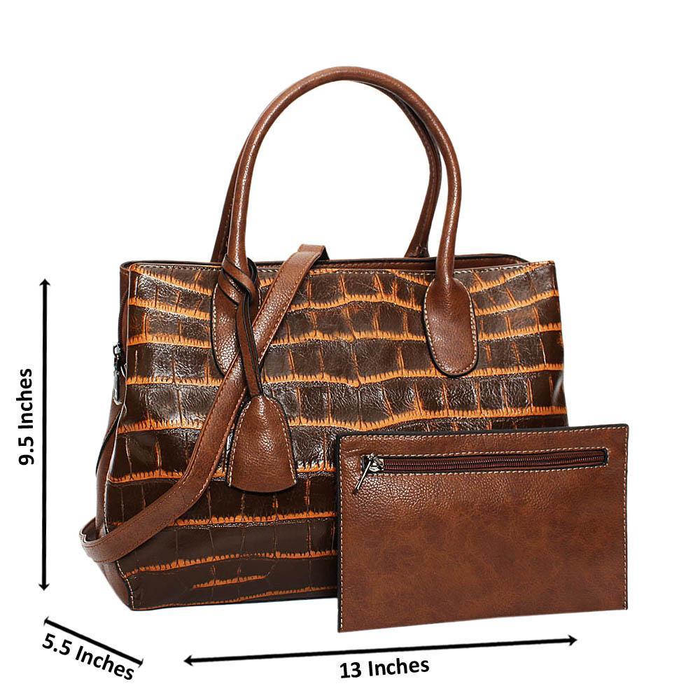 Brown Mix Croc Leather Medium Tote Handbag