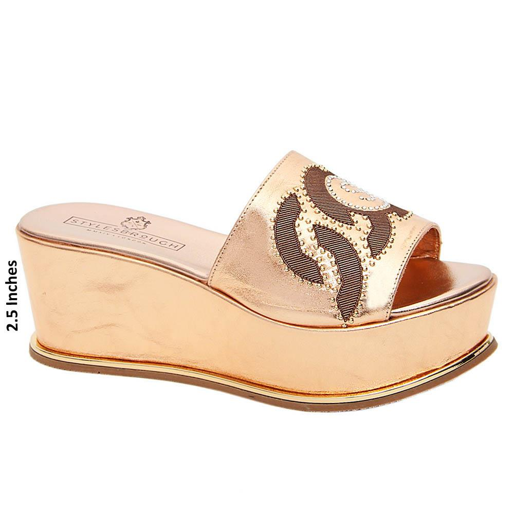 Rose Gold Elena Italian Leather Wedge