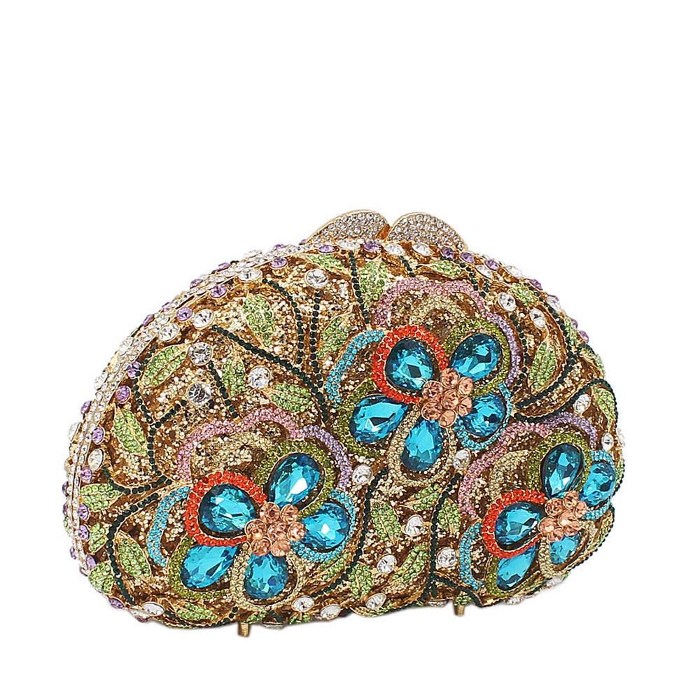 Green Mix 3-Petals Diamanted Crystals Clutch Purse