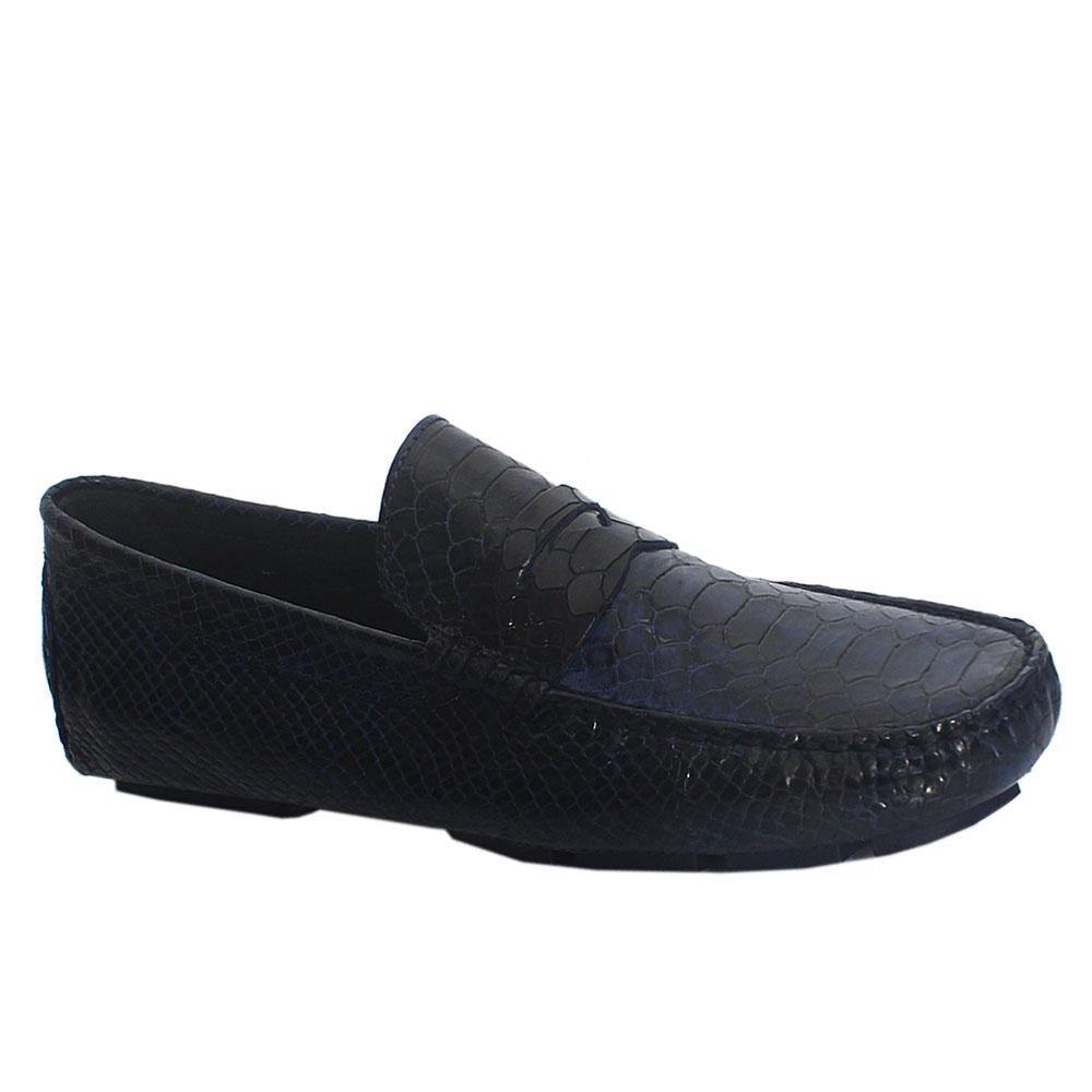 Blue Croc Style Italian Leather Driver Men