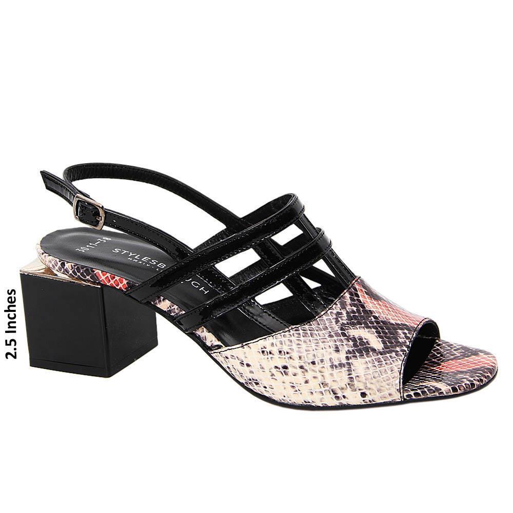 Black Mix Noemi Patent Tuscany Leather Mid Heel Sandals