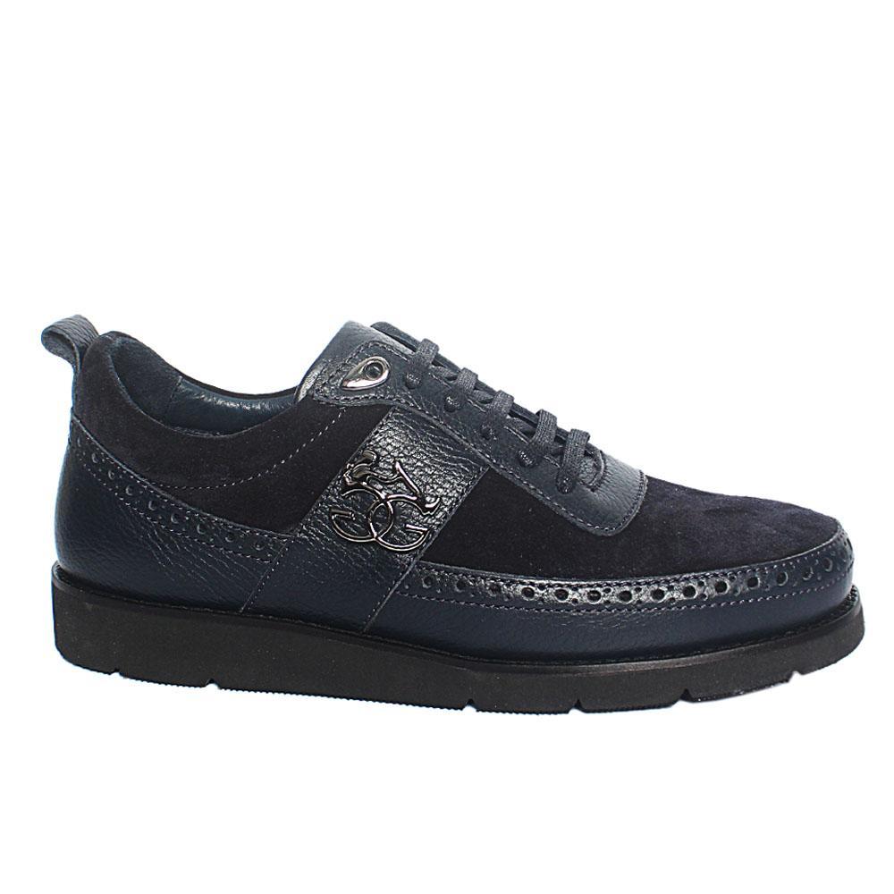 Navy Ambrogio Suede Italian Leather Sneakers