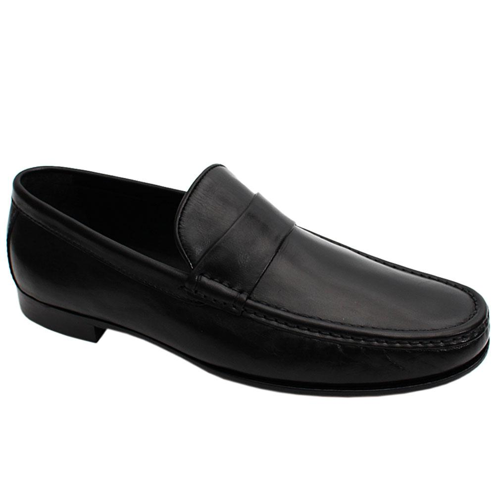 Black Antique Italian Leather Men Penny Loafers