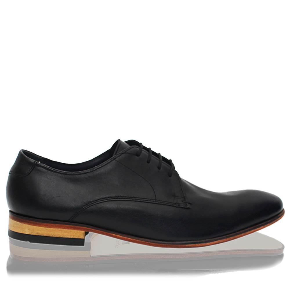 Black Leather Men Derby Shoes