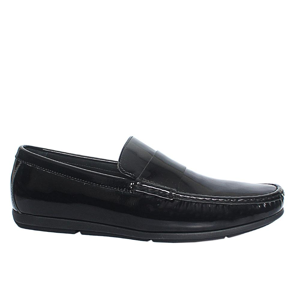 Black Albizzo Patent Italian Leather Drivers Shoes