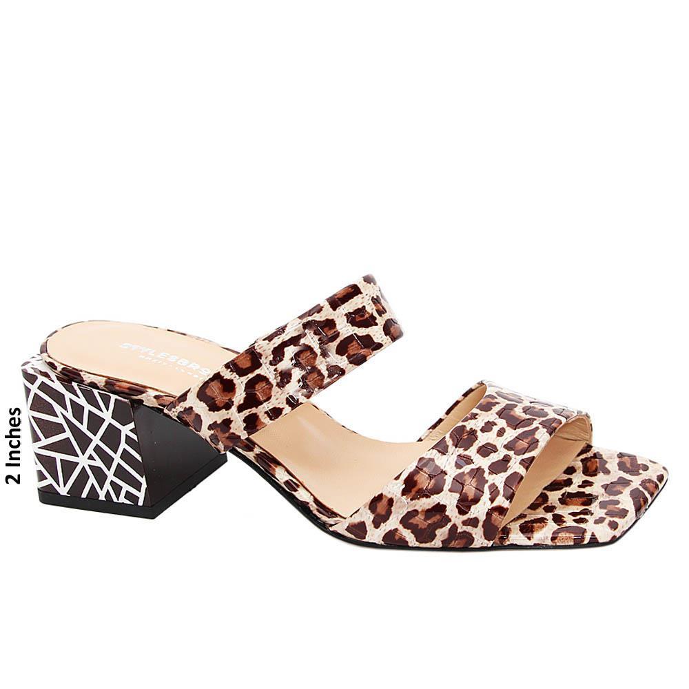 Brown Mix Eulalia Tuscany Leather Mid Heel Mule