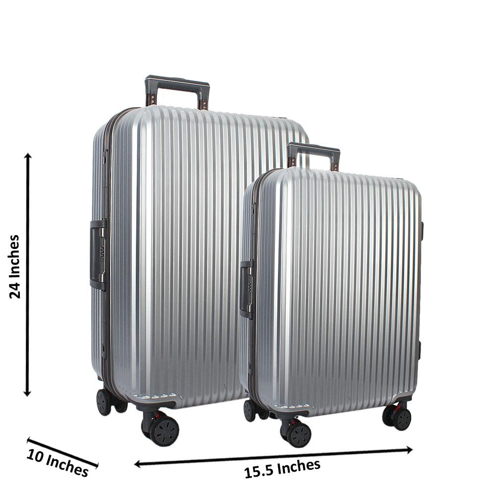 Silver 24 inch Wt 20 inch 2 in 1 Hardshell Luggage Set Wt TSA Lock