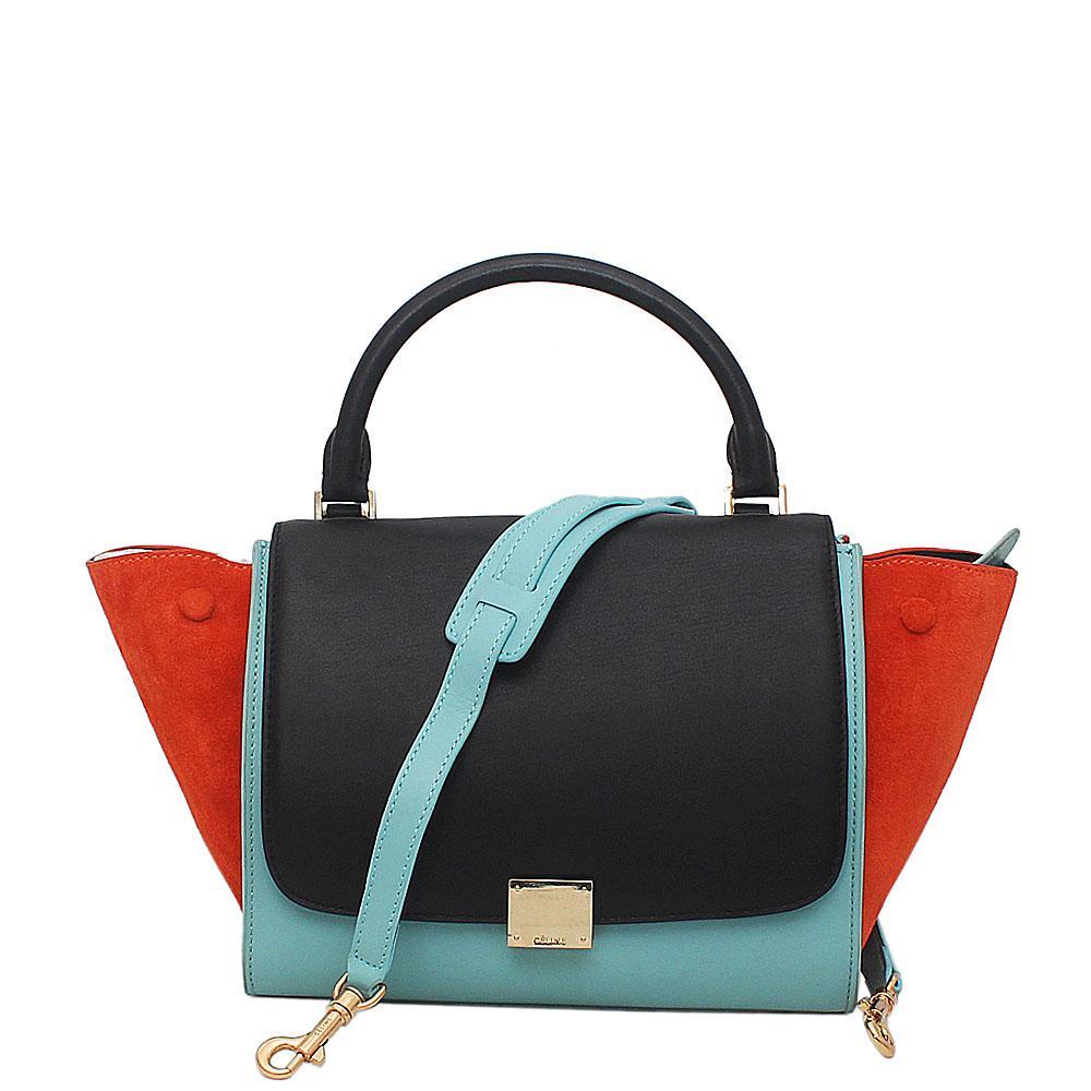 1bcc9c74cc49 Buy Celine-Multicolour-Saffiano-Leather-Trapeze-Handbag - The Bag ...