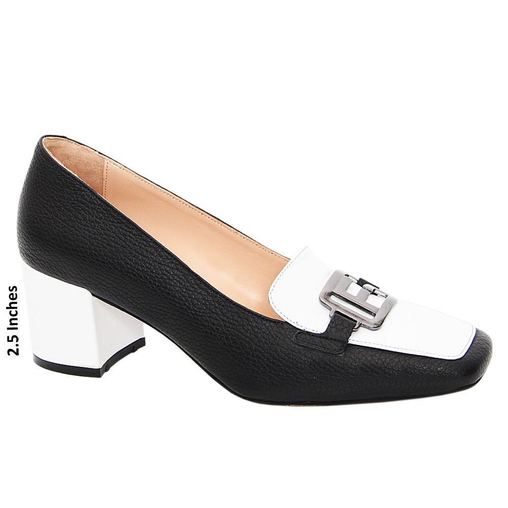 Black White Ginevra Tuscany Leather Mid Heel Pumps