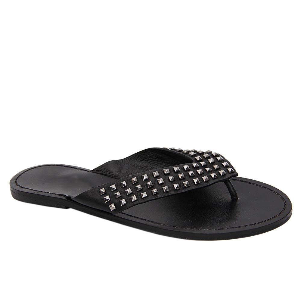 Black Alexa Studded Leather Women Flat Slippers
