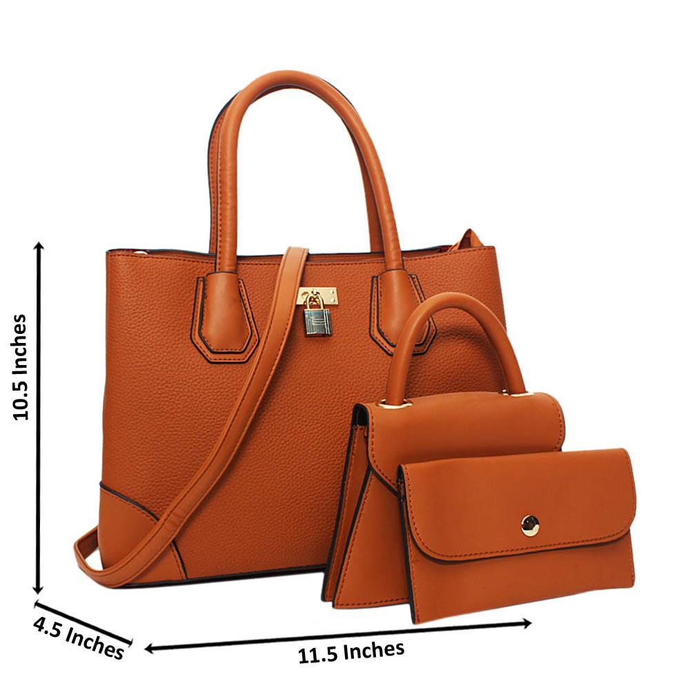Brown Natalie Leather Medium 3 in 1 Tote Handbag