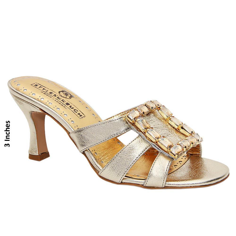 Gold Gemma Studded Italian Leather Mid Heel Mule