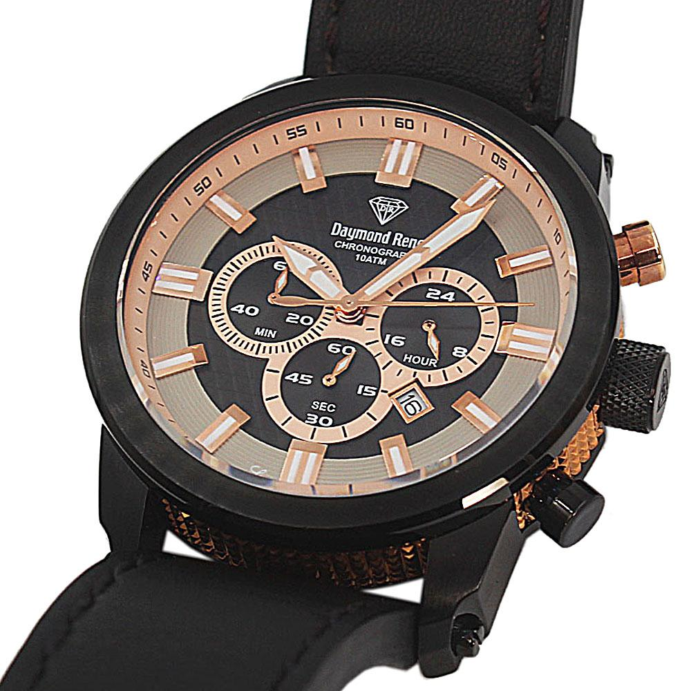 Black 10 ATM Black Leather Chronograph Watch