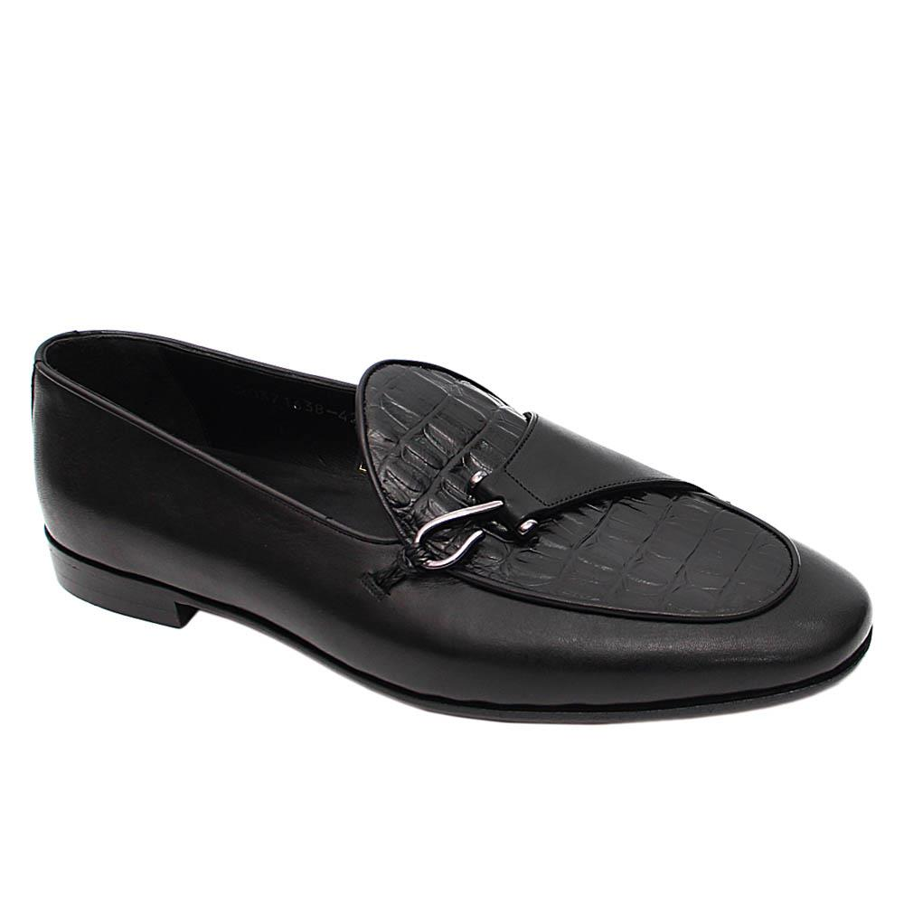 Black Marco Italian Leather Loafers