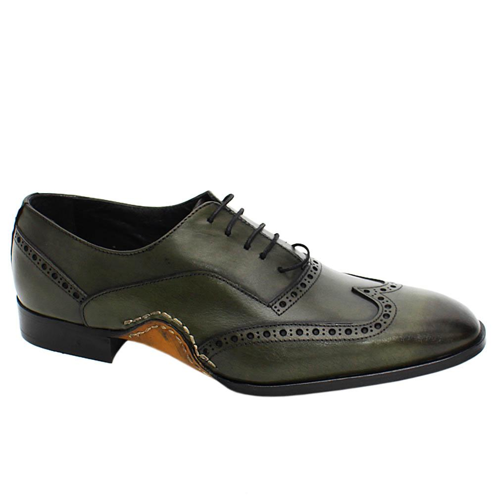 Army Green Oscar Perry Wrap Sole Leather Oxford Shoes