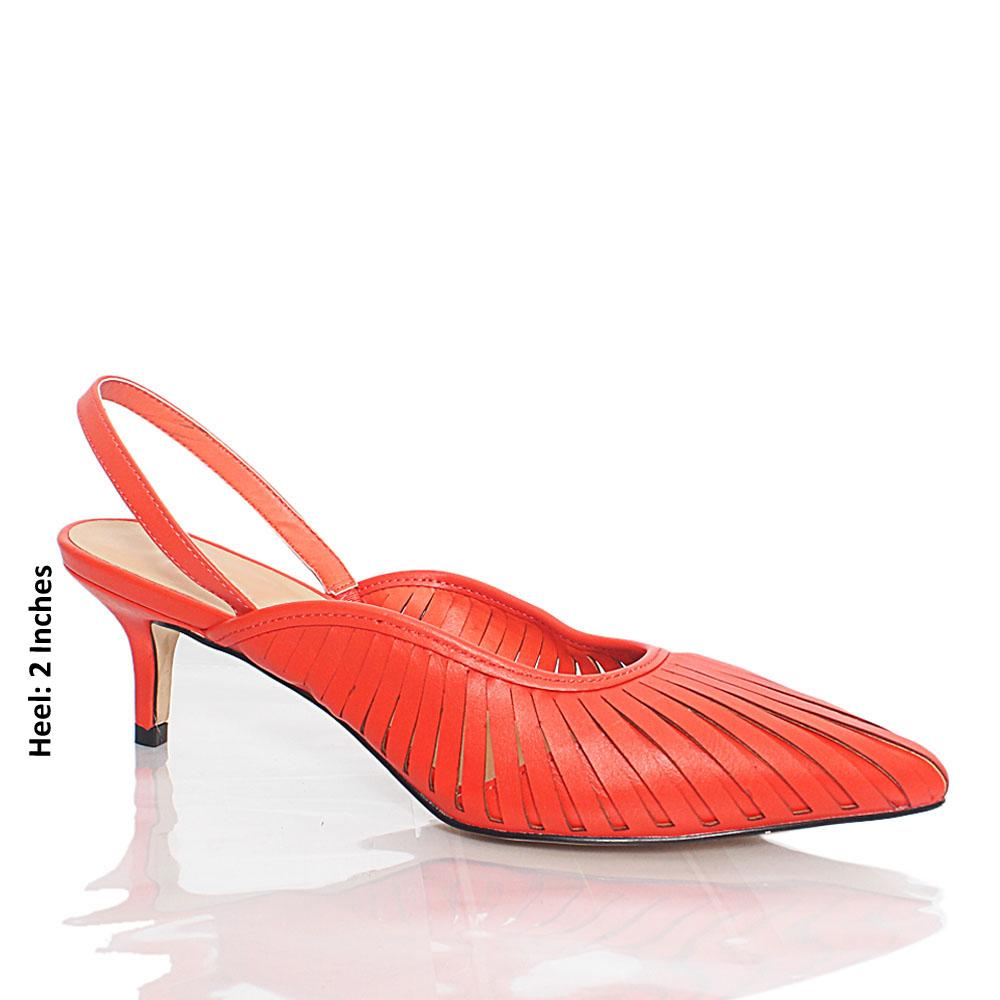 Orange Natte Caribbean Leather Mid Heel