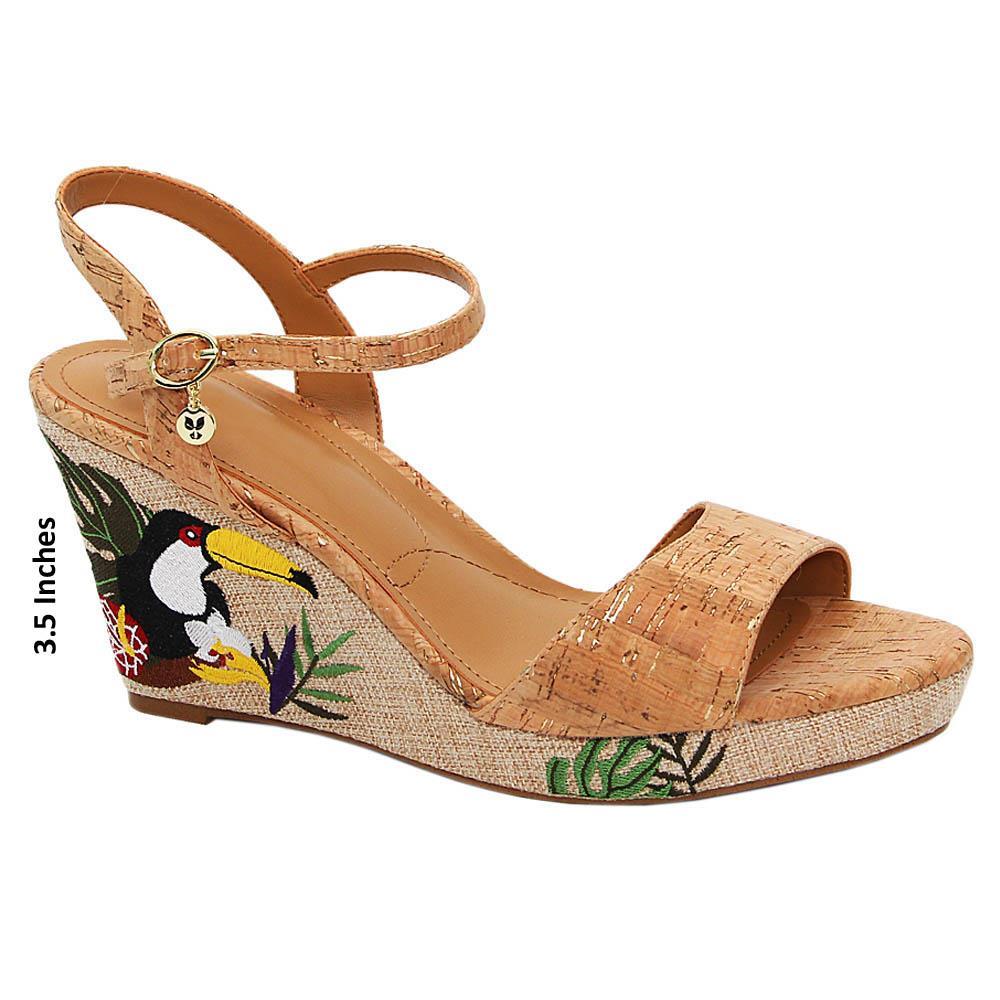 Brown Presley Leather Cork Wedge Sandals
