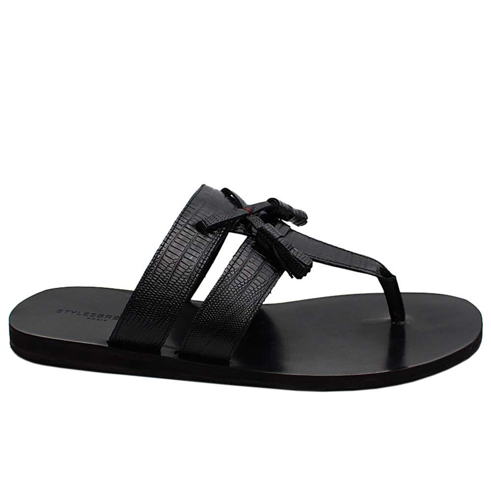 Black Picasso Tassel Snake Italian Leather Men Slippers