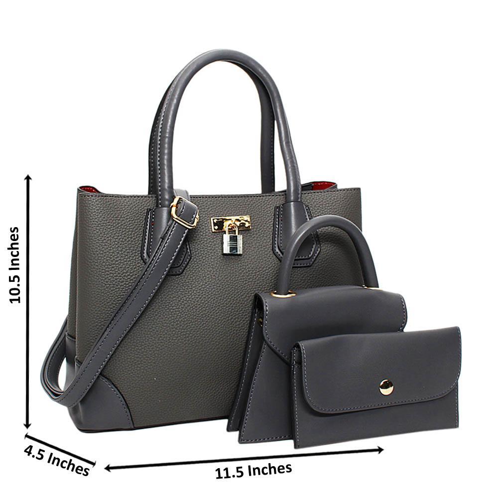 Gray Natalie Leather Medium 3 in 1 Tote Handbag