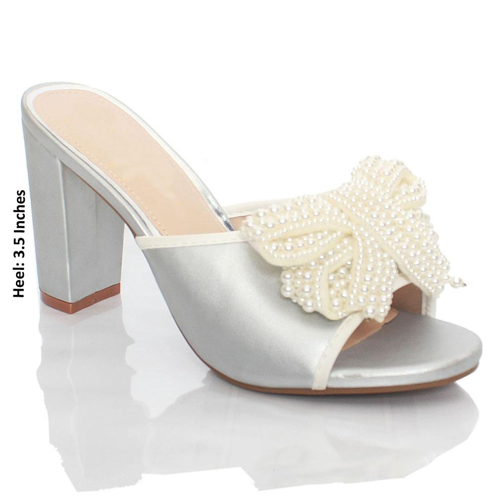 Silver Pearl Bow Leather High Heel Mule