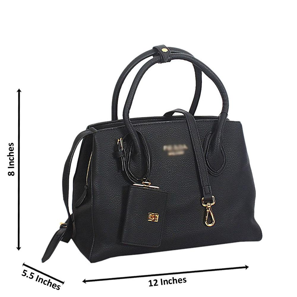 Black Lucrezia Leather Tote Handbag