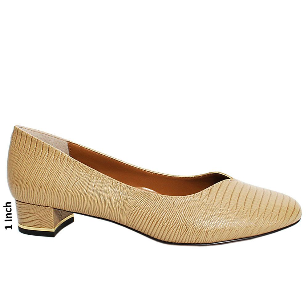 Khaki Sicilia Snake Leather Low Heel