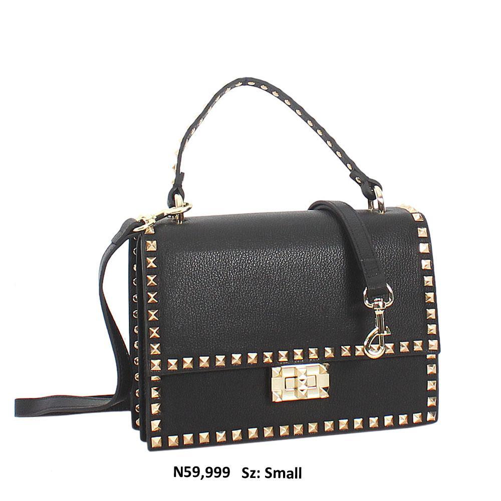 Gold Black Studded Cher Leather Mini Top Handle Handbag